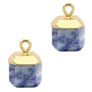 Natuursteen bedel / hanger square 14x10mm blue white goud