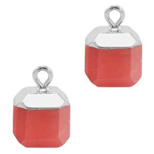 Natuursteen bedel / hanger square 14x10mm crimson red zilver