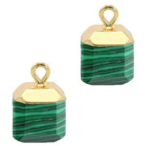 Natuursteen bedel / hanger square 14x10mm green goud