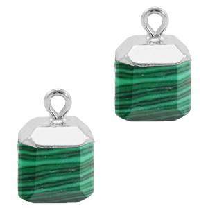 Natuursteen bedel / hanger square 14x10mm green zilver