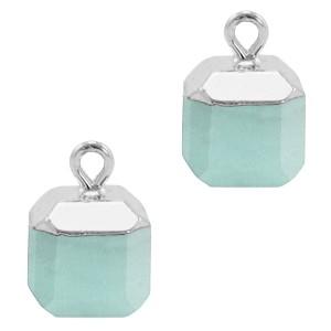 Natuursteen bedel / hanger square 14x10mm icy morn blue zilver