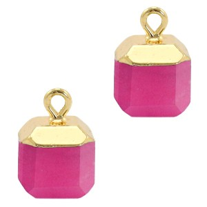Natuursteen bedel / hanger square 14x10mm magenta pink goud
