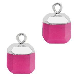 Natuursteen bedel / hanger square 14x10mm magenta pink zilver
