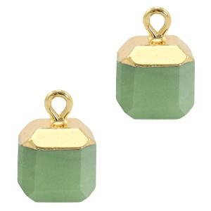 Natuursteen bedel / hanger square 14x10mm ocean green goud