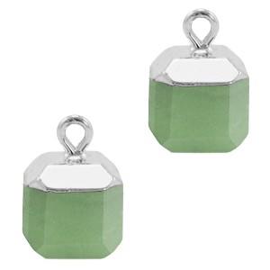 Natuursteen bedel / hanger square 14x10mm ocean green zilver