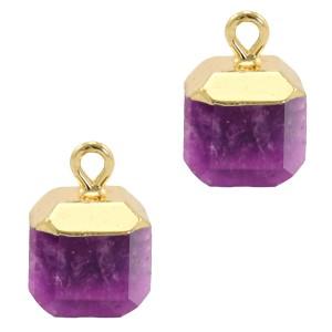 Natuursteen bedel / hanger square 14x10mm purple goud