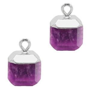 Natuursteen bedel / hanger square 14x10mm purple zilver