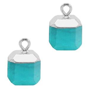 Natuursteen bedel / hanger square 14x10mm turquoise blue zilver