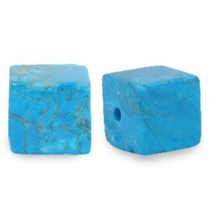 Natuursteen cube kralen vierkant 4mm azure turquoise blue