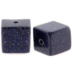 Natuursteen cube kralen vierkant 4mm black blue