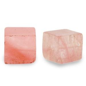Natuursteen cube kralen vierkant 4mm blossom pink