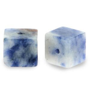 Natuursteen cube kralen vierkant 4mm blue white