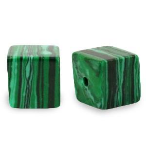Natuursteen cube kralen vierkant 4mm green