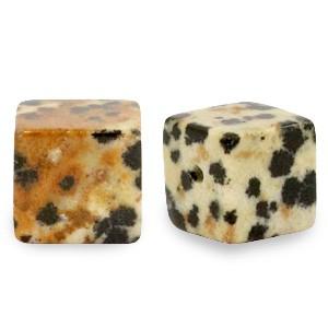 Natuursteen cube kralen vierkant 4mm greige
