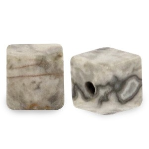 Natuursteen cube kralen vierkant 4mm light grey