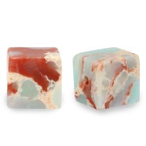 Natuursteen cube kralen vierkant 4mm marble light turquoise blue