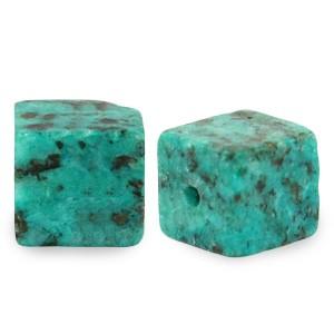 Natuursteen cube kralen vierkant 4mm ocean blue