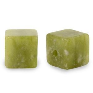 Natuursteen cube kralen vierkant 4mm olive green