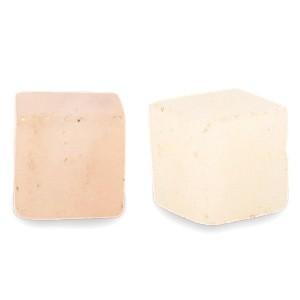 Natuursteen cube kralen vierkant 4mm white peach