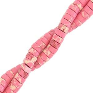 Natuursteen disc kralen rond 4mm marble azalea pink