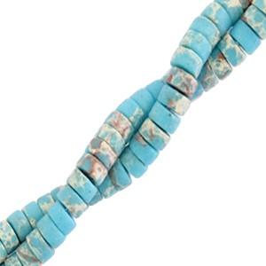 Natuursteen disc kralen rond 4mm marble cyan blue