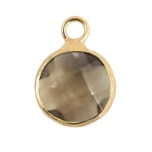 Natuursteen hanger 10mm black diamond gold