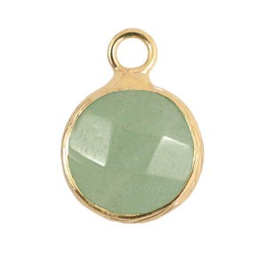 Natuursteen hanger 10mm light green gold