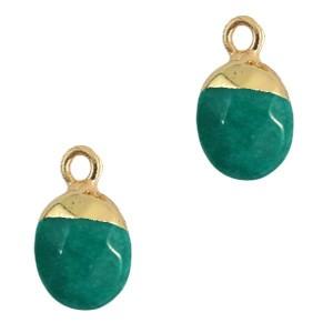 Natuursteen hanger eden green gold