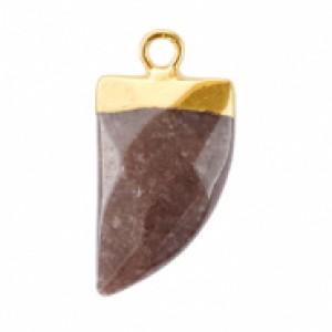 Natuursteen hanger hoektand howthorn rose goud