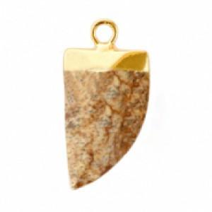 Natuursteen hanger hoektand porcini brown goud