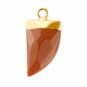 Natuursteen hanger hoektand sugar almond brown glitter goud
