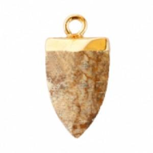 Natuursteen hanger tand porcini brown goud