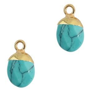 Natuursteen hanger turquoise gold