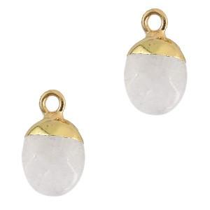 Natuursteen hanger white crystal gold