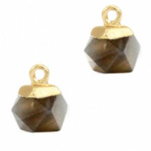 Natuursteen hangers hexagon black diamond goud