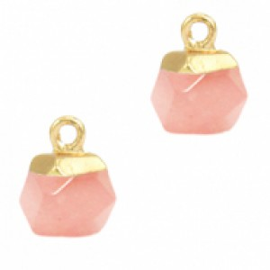 Natuursteen hangers hexagon blossom pink goud