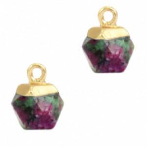 Natuursteen hangers hexagon dark green marble goud
