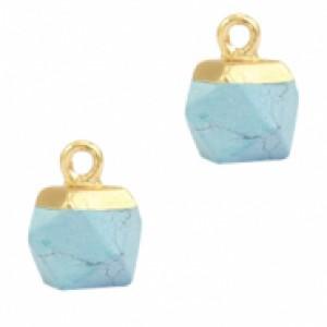 Natuursteen hangers hexagon haze blue goud