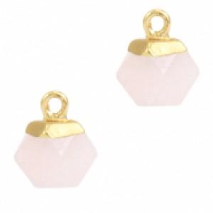 Natuursteen hangers hexagon icy pink goud