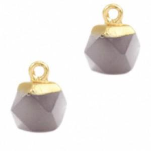 Natuursteen hangers hexagon mirage grey goud