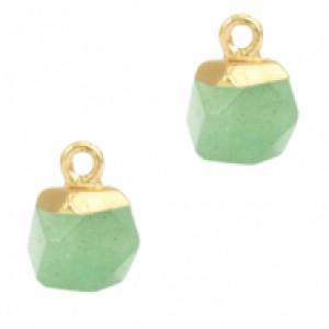 Natuursteen hangers hexagon ocean green goud