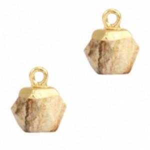 Natuursteen hangers hexagon porcini brown goud