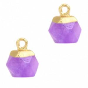 Natuursteen hangers hexagon purple goud