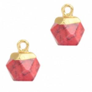 Natuursteen hangers hexagon red marble goud