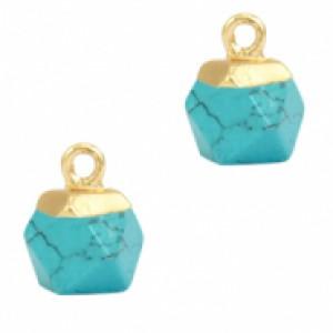 Natuursteen hangers hexagon turquoise goud