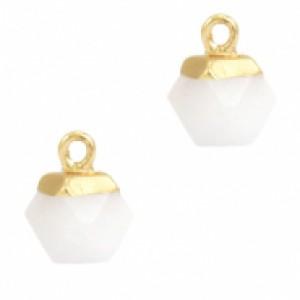 Natuursteen hangers hexagon white goud
