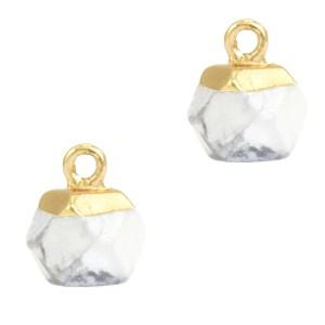 Natuursteen hangers hexagon white marble goud