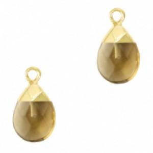 Natuursteen hangers ovaal black diamond goud