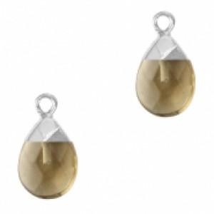 Natuursteen hangers ovaal black diamond zilver