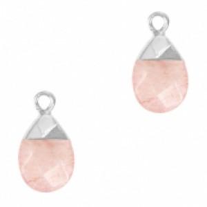 Natuursteen hangers ovaal blossom pink zilver